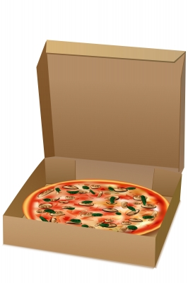 pizza in a cardboard box